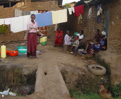 Women in Katwe washing clothes